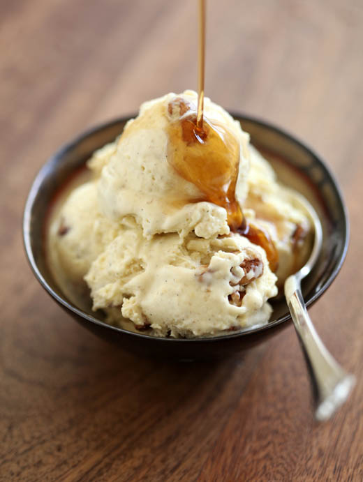 Roasted banana ice cream with maple syrup and toasted pecans | photo by Zoë François