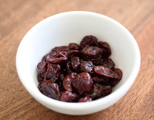 Dried cherries soaked in brandy