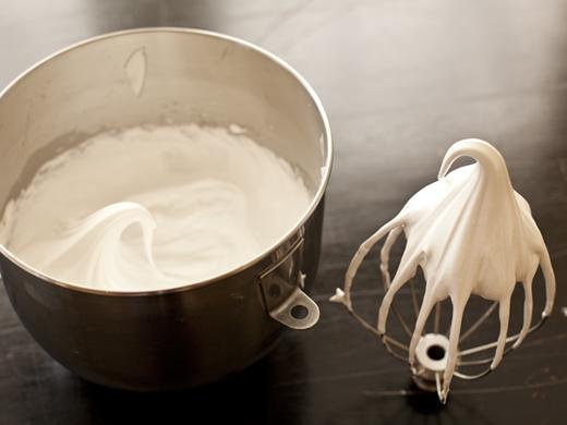 Whipped meringue with a stiff peak | ZoëBakes | Photo by Zoë François
