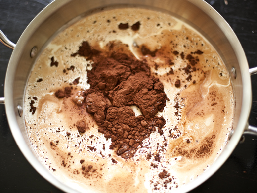 Whisking together cream, cocoa, sugar, and salt | ZoëBakes | Photo by Zoë François