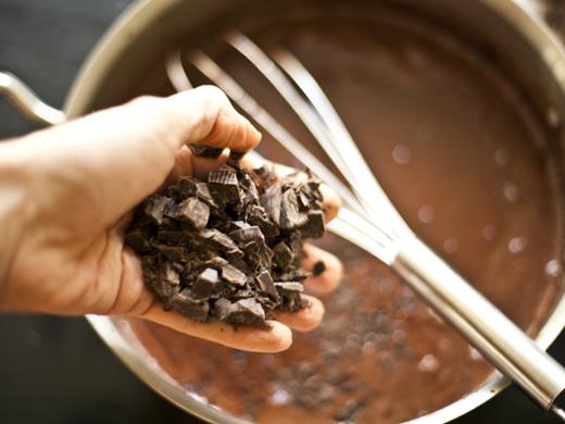 Adding chocolate to ice cream base | ZoëBakes | Photo by Zoë François