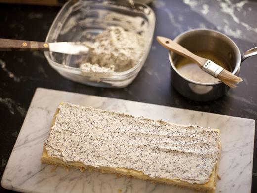 Buttercream on sponge for 7 layer cake | ZoëBakes | Photo by Zoë François