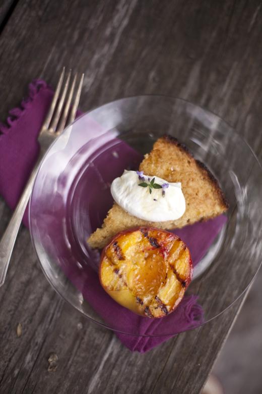 grilled cornbread & peaches zb 12