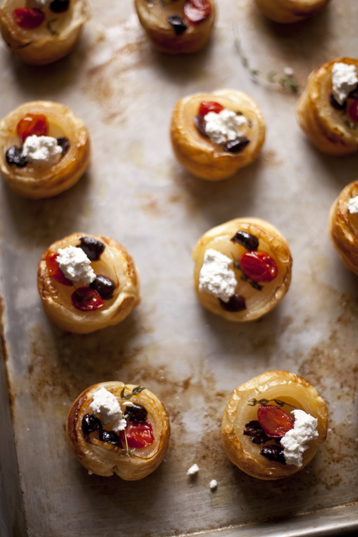 Onion Tarts with Cherry Tomatoes, French Olives and Feta Recipe   ZoëBakes   Photo by Zoë François