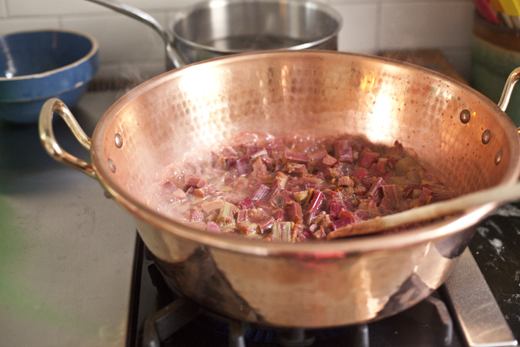 Boiling Rhubarb for Jam | ZoëBakes | Photo by Zoë François