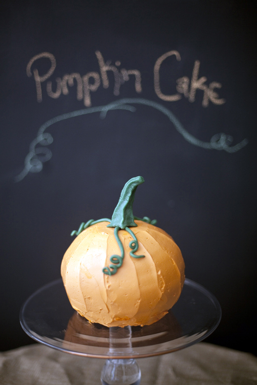 Pumpkin Cake Shaped Like a Pumpkin | ZoëBakes | Photo by Zoë François
