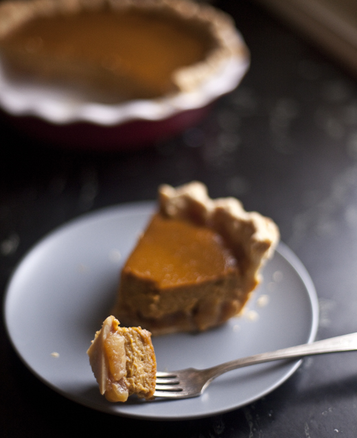 Caramel Apple Pumpkin Pie slice | ZoeBakes | Photo by Zoë François