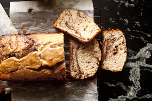 Nutella Swirled Banana Bread recipe - sliced after 10 minutes of cooling | photo by Zoë François