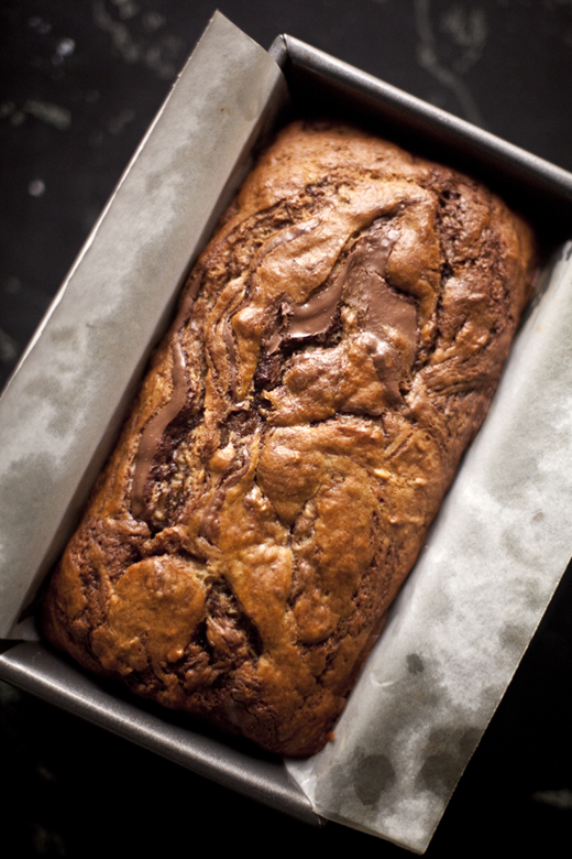 Nutella Swirled Banana Bread recipe - loaf baked | photo by Zoë François