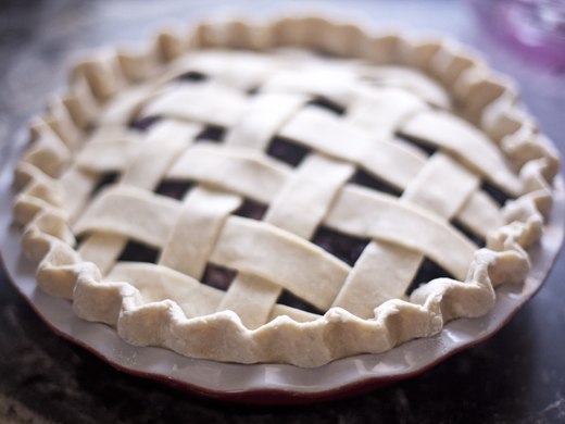 Blueberry Pie Recipe - unbaked lattice-topped blueberry pie ready for the oven | photo by Zoë François
