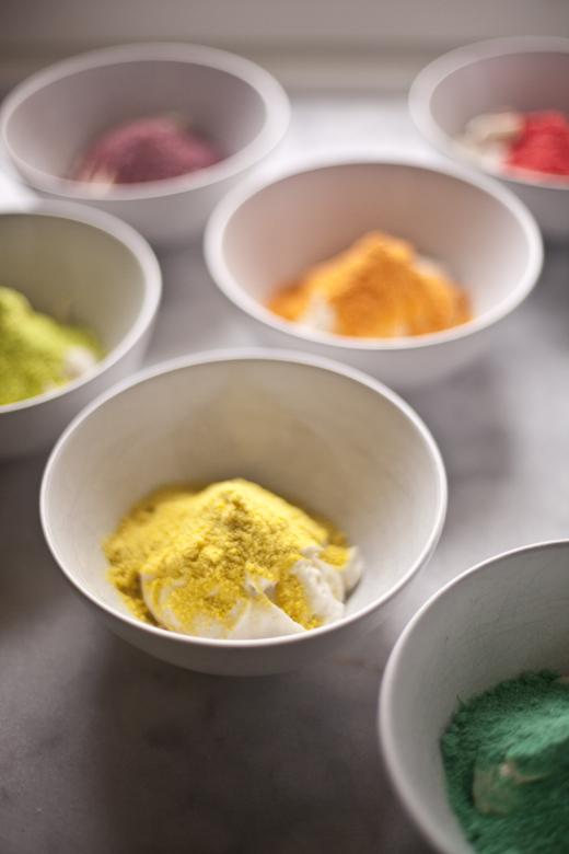 Trix Cereal powder in bowls with cake batter | ZoëBakes | Zoë François