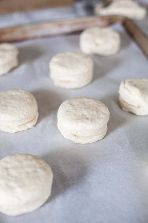 How to Make Flaky Biscuits | Place biscuits on a lined baking sheet