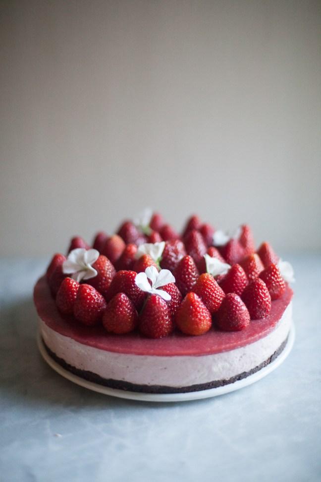 No-Bake Strawberry Cheesecake Recipe | ZoëBakes | Photo by Zoë François