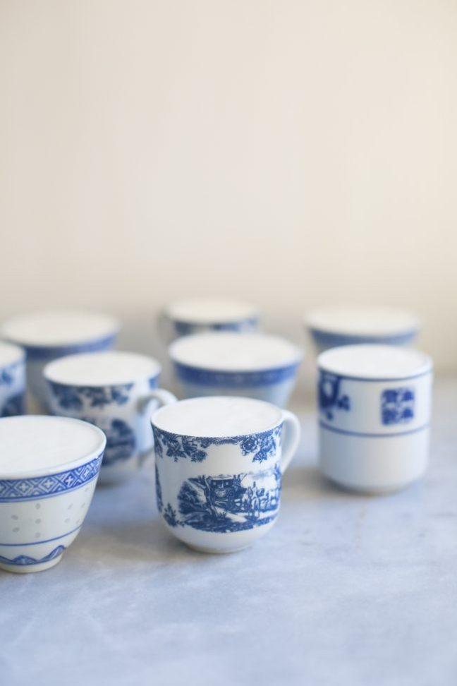 Beautiful white and blue mugs for Butterscotch Pot de Crème | Photo by Zoë François
