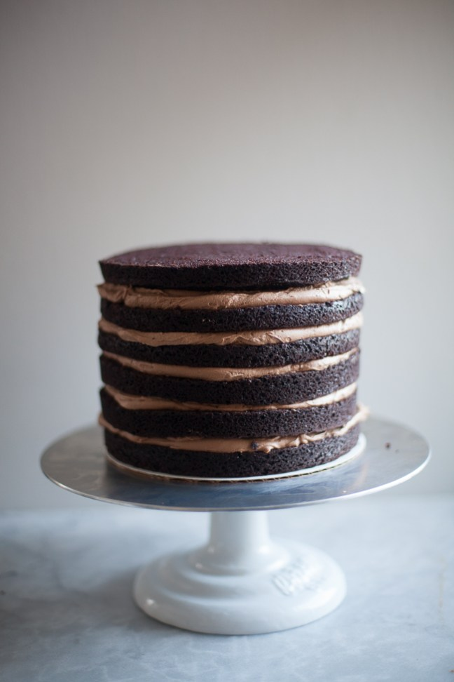 Layered chocolate birthday cake with cream cheese frosting | photo by Zoë François