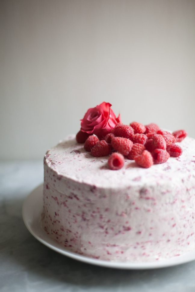 Raspberry Rose Angel Food Dream Cake Recipe | Photo by Zoë François