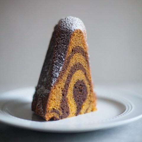 Chocolate Pumpkin Swirl Bundt Cake