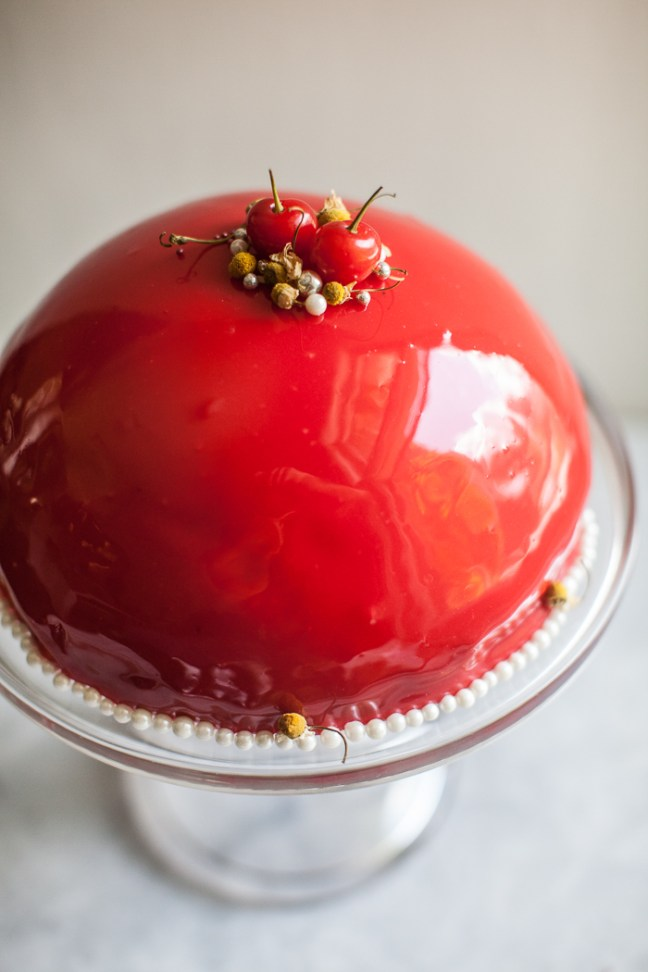 Mirror Glaze Cherry Cake | ZoeBakes photo by Zoë François