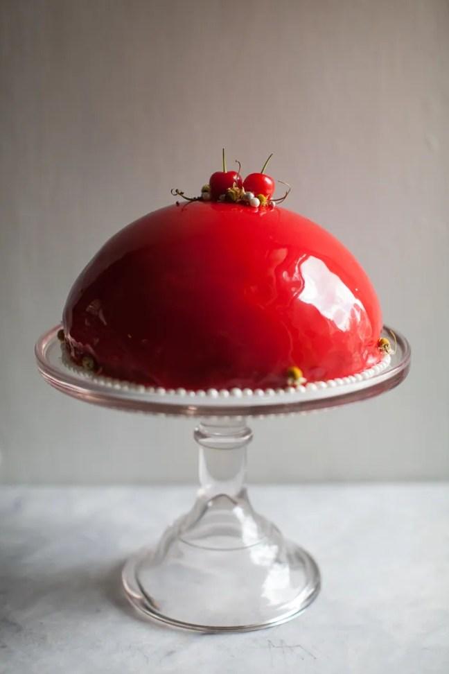 Mirror Glaze Cherry Cake   ZoeBakes photo by Zoë François
