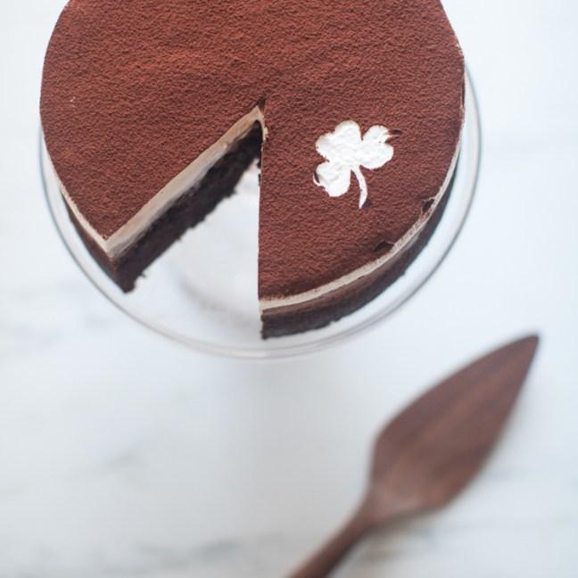 st patricks day cake with shamrock enblazed on top