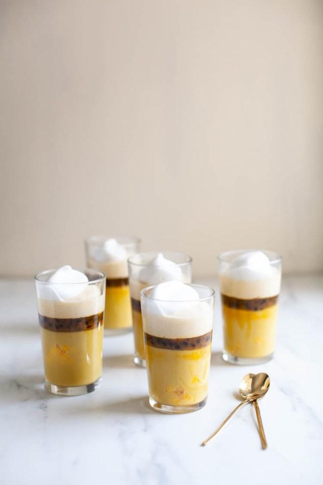 Glasses of Vegan Mango Pudding