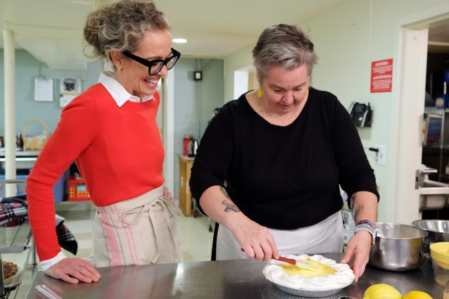 Zoë François of Pie and Mighty, showing Zoë François how to make her grandmother's angel pie on Zoë Bakes on Magnolia Network
