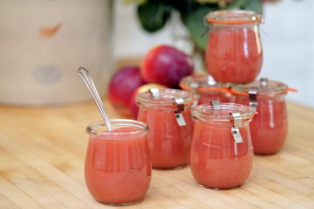 Weck jars filled with pink applesauce created on Zoë François's show Zoë Bakes