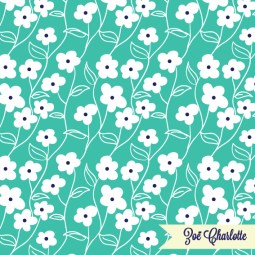 This dark mint print is bold and good-natured, with a little bit of a retro feel. A versatile pattern.