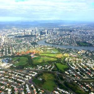 Flying over Brisbane
