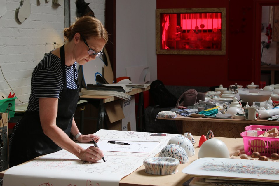 Zoe Robertson at her artist studio The Dual Works photographed by Workshop Birmingham and Make Works