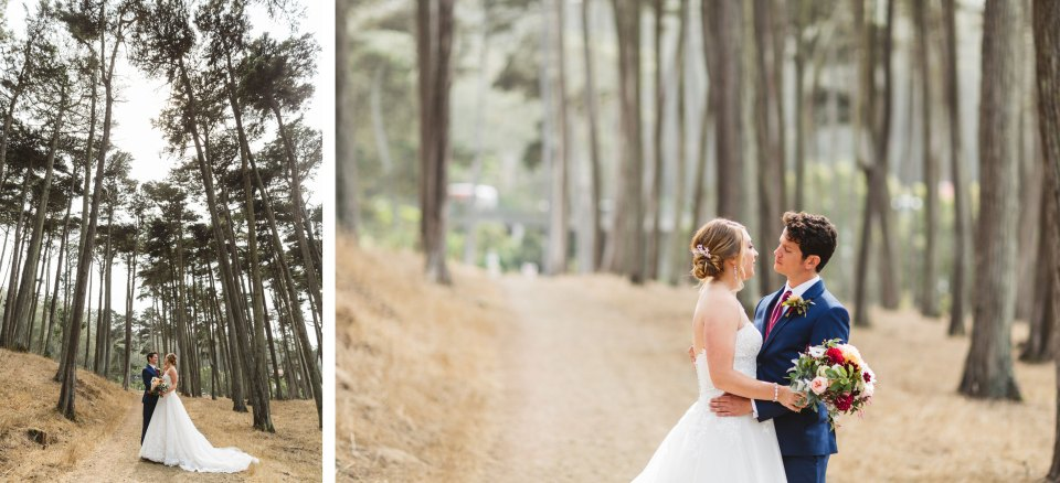 san francisco redwood trees with couple on their wedding day | small wedding ideas and benefits of an intimate wedding