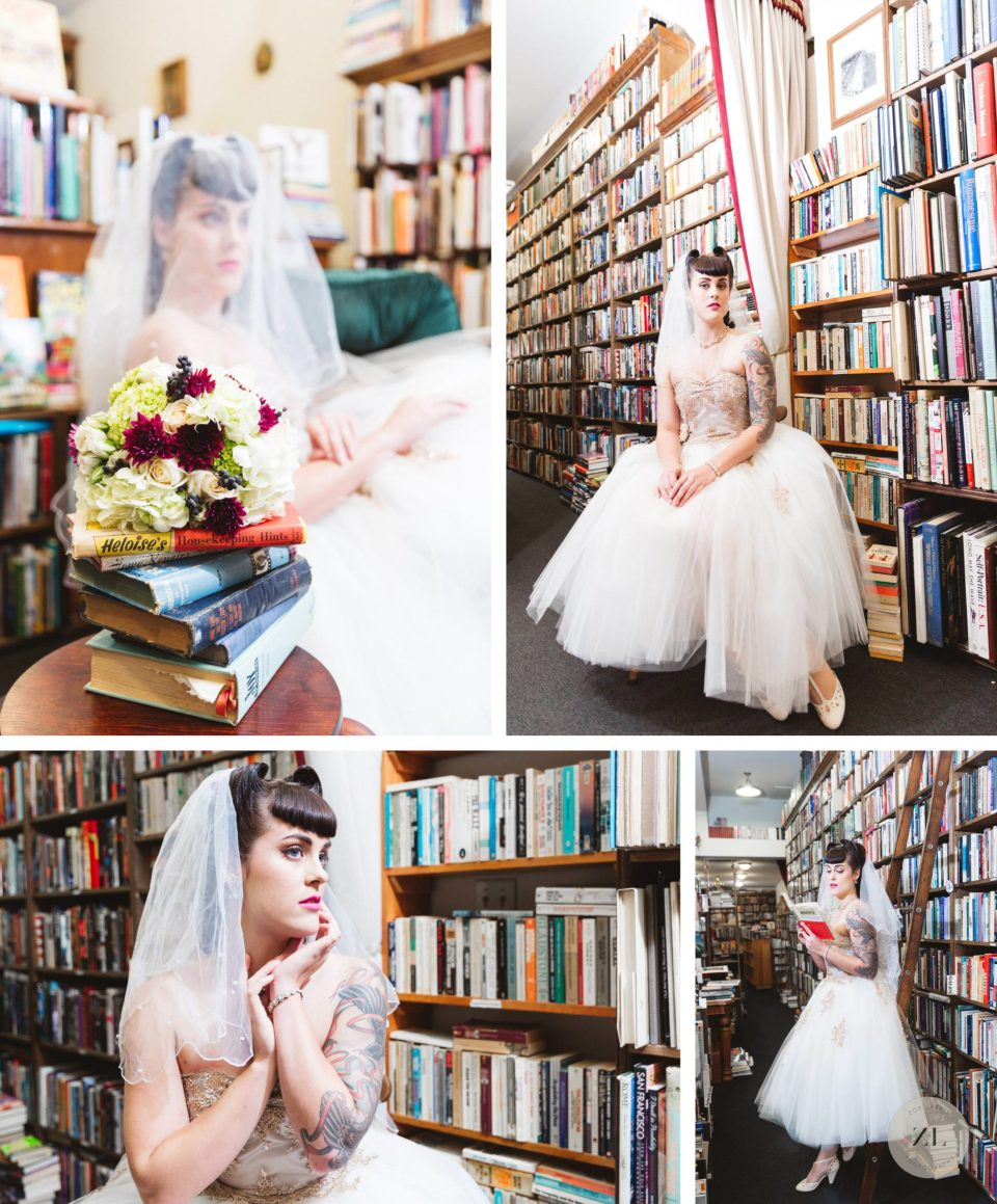 50's style bride reclining in chair in vintage bookstore