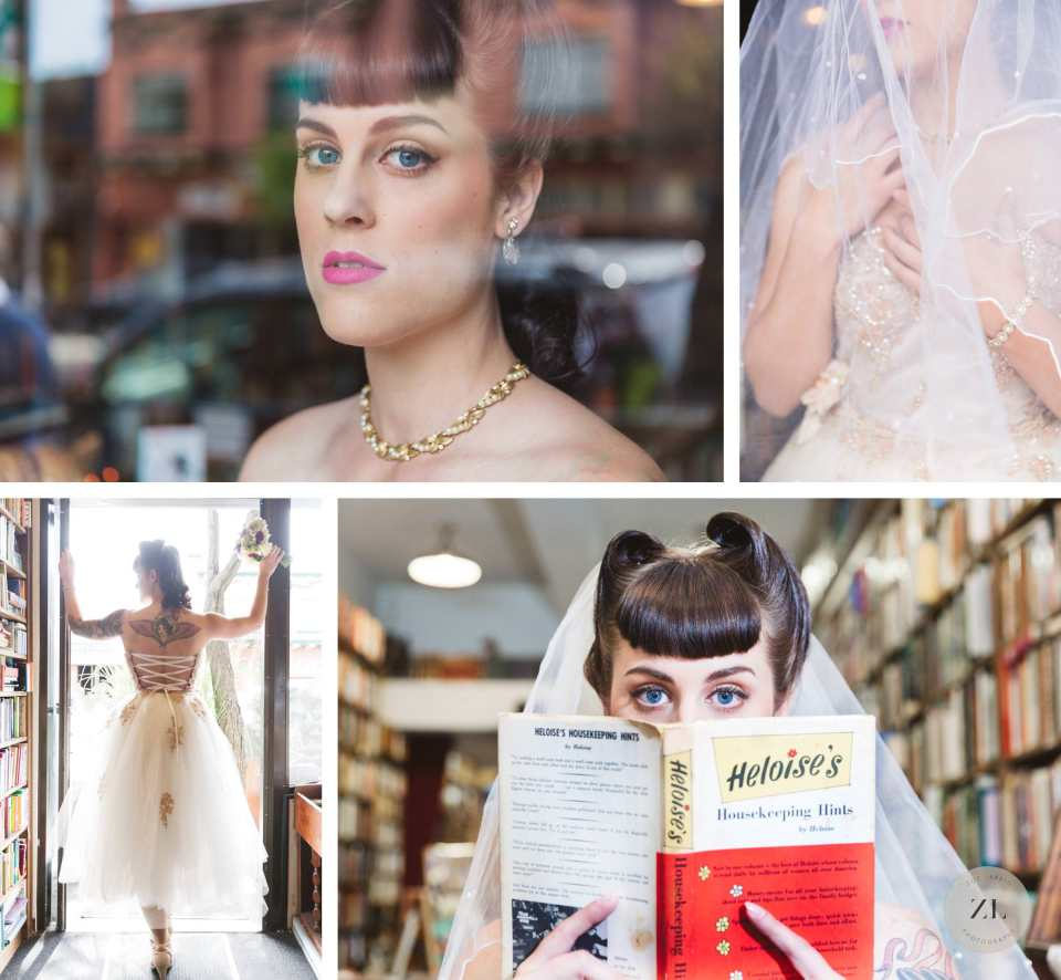 owl & co piedmont avenue vintage bookshop bridal shoot