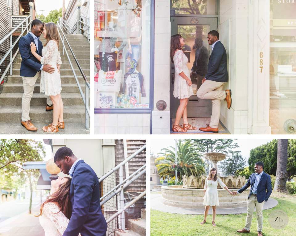 couple in doorway at fun Sausalito engagement photo shoot