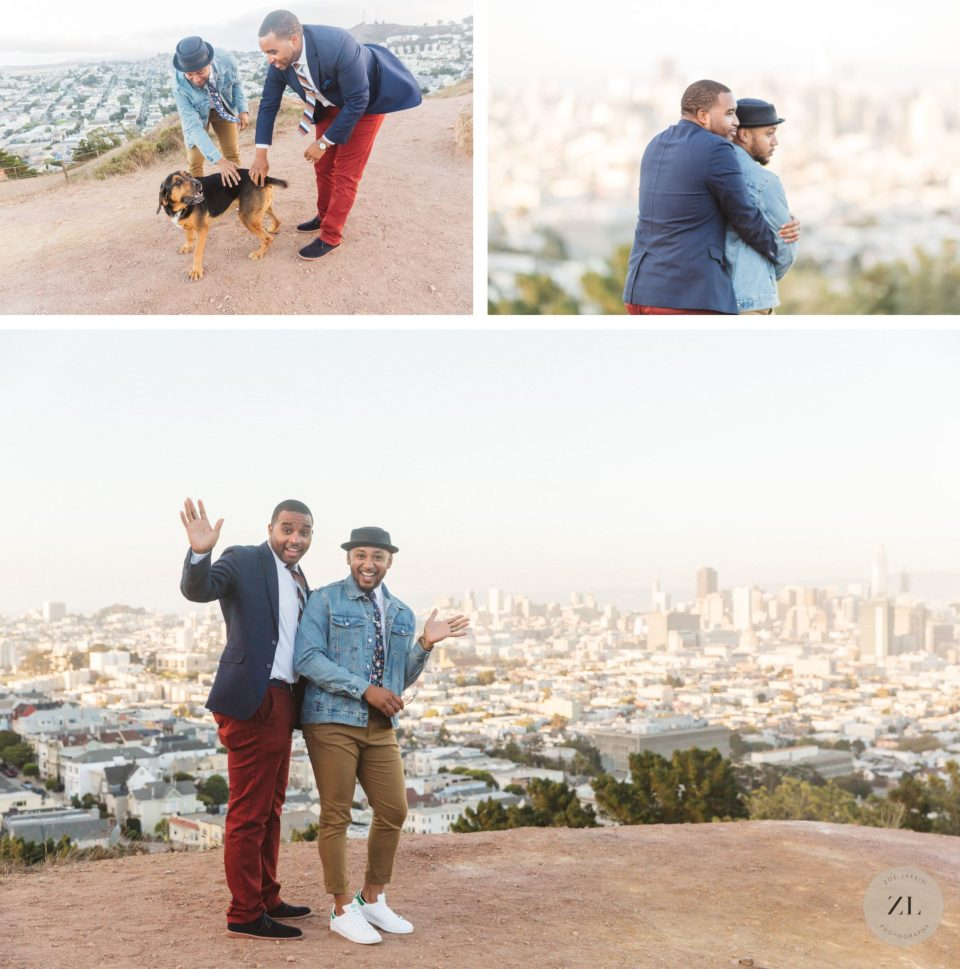 candid same sex engagement photos at corona heights park engagement shoot