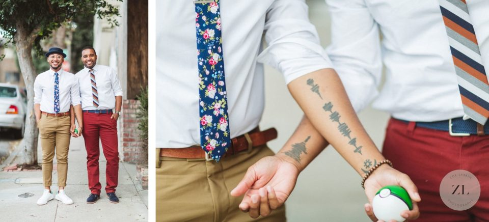 gay couple showing their matching tattoos as part of their engagement photos