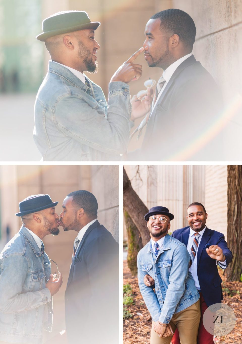 lgbtq engagement photos showing african american male couple dancing and kissing