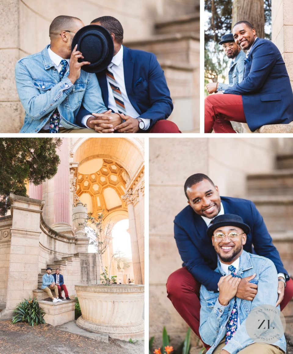black gay couple's sweet engagement photos at the palace of fine arts, san francsico
