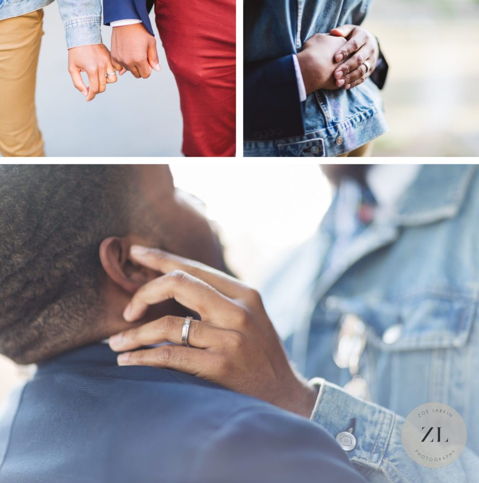 close up details of two men at their san francisco engagement session