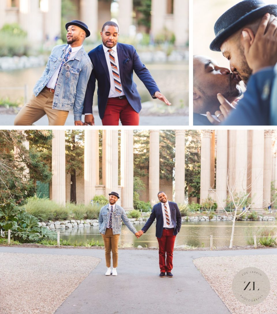 same sex engagement photos of a couple dancing and playing at the elegant palace of fine arts in san francisco