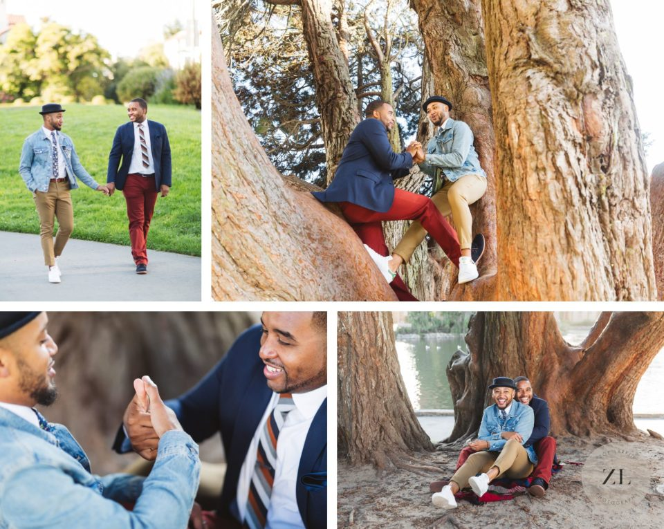 sweet black male couple playing games in a tree on their engagement session in san francisco