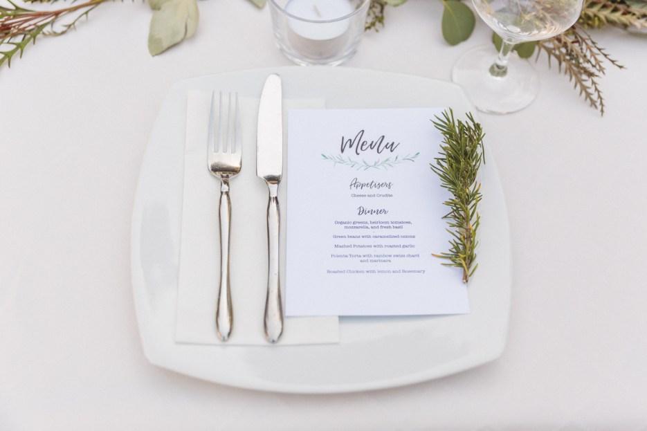elegant white wedding place setting