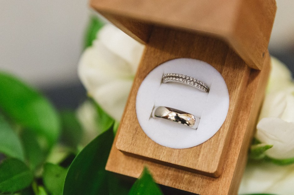 wedding rings in presentation box