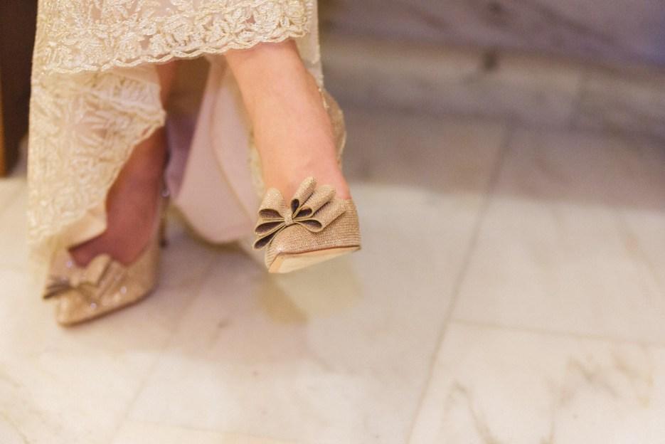 bridal details sparkly shoes and hem of dress