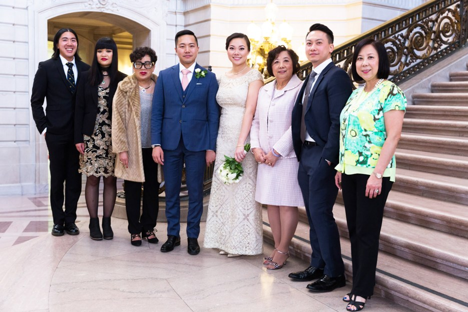 family photography at sf city hall wedding