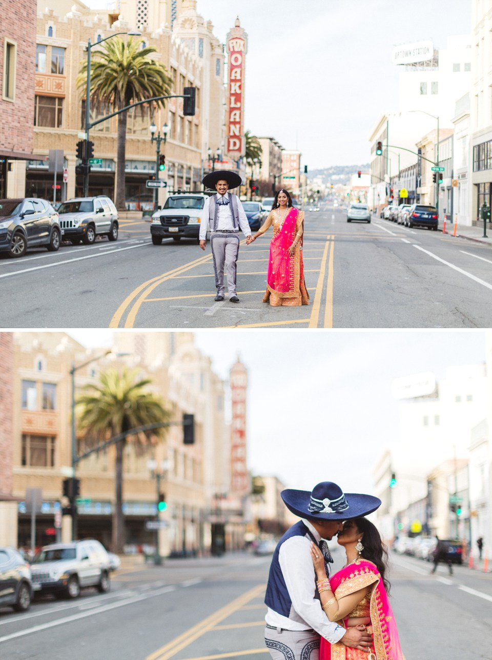 indian and mexican couple engagement photography in front of fox theater oakland