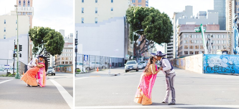 urban couple kissing in middle of oakland street