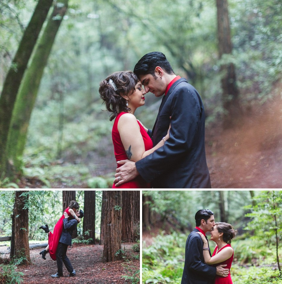 couple in coordinating outfits pose during redwood engagement session