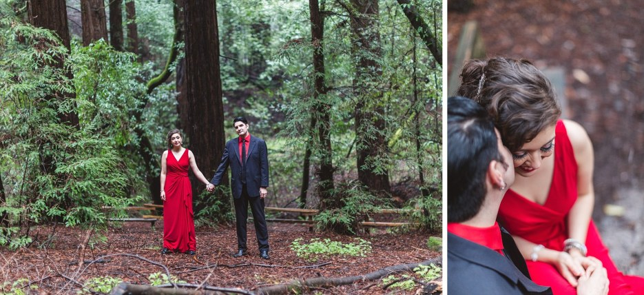stylish couple posing in glam forest setting