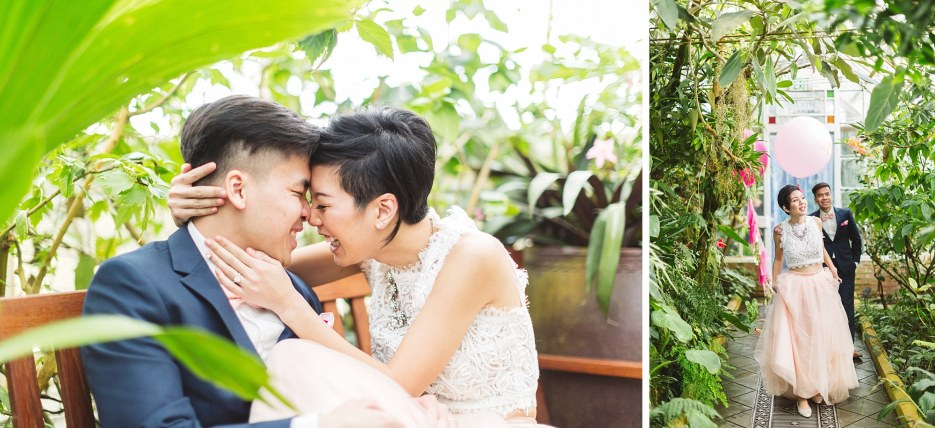 just married couple kissing at san francisco conservatory of flowers